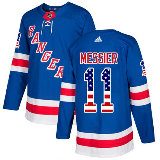 Adidas Mark Messier New York Rangers Youth Authentic USA Flag Fashion Jersey - Royal Blue