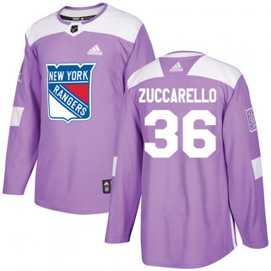 Adidas Mats Zuccarello New York Rangers Youth Authentic Fights Cancer Practice Jersey - Purple