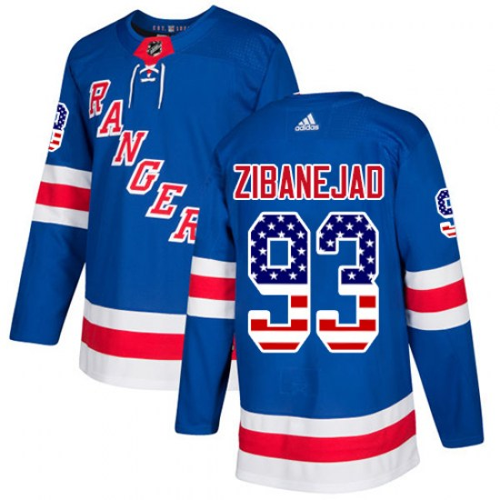Adidas Mika Zibanejad New York Rangers Authentic USA Flag Fashion Jersey - Royal Blue