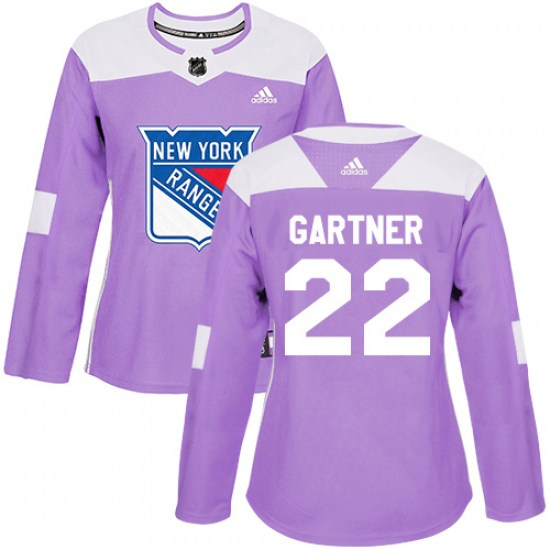 Adidas Mike Gartner New York Rangers Women's Authentic Fights Cancer Practice Jersey - Purple