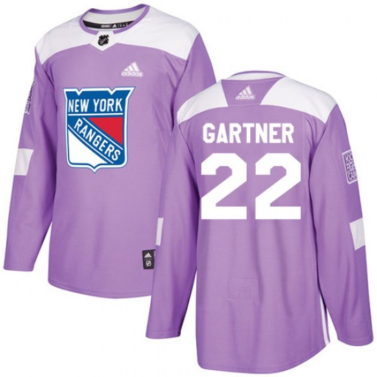 Adidas Mike Gartner New York Rangers Youth Authentic Fights Cancer Practice Jersey - Purple