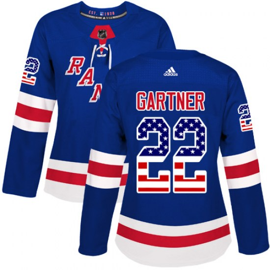 Adidas Mike Gartner New York Rangers Women's Authentic USA Flag Fashion Jersey - Royal Blue
