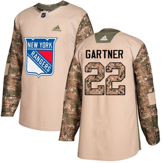 Adidas Mike Gartner New York Rangers Youth Authentic Veterans Day Practice Jersey - Camo