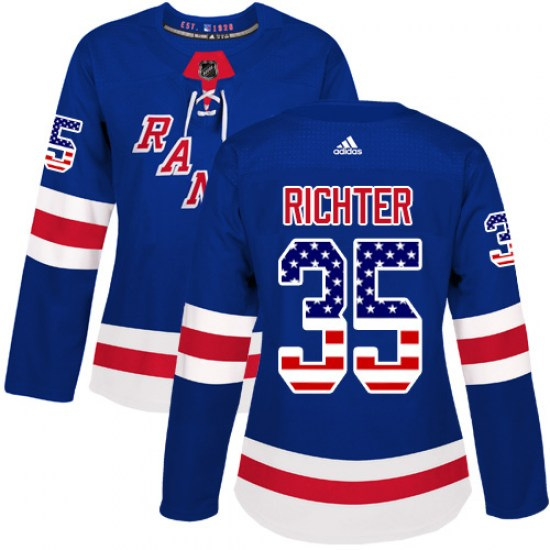 Adidas Mike Richter New York Rangers Women's Authentic USA Flag Fashion Jersey - Royal Blue