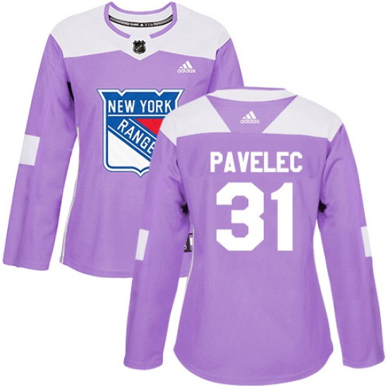Adidas Ondrej Pavelec New York Rangers Women's Authentic Fights Cancer Practice Jersey - Purple