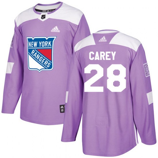 Adidas Paul Carey New York Rangers Youth Authentic Fights Cancer Practice Jersey - Purple
