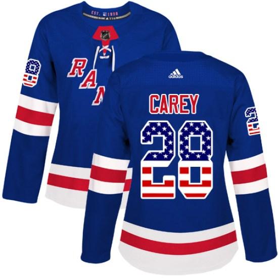 Adidas Paul Carey New York Rangers Women's Authentic USA Flag Fashion Jersey - Royal Blue