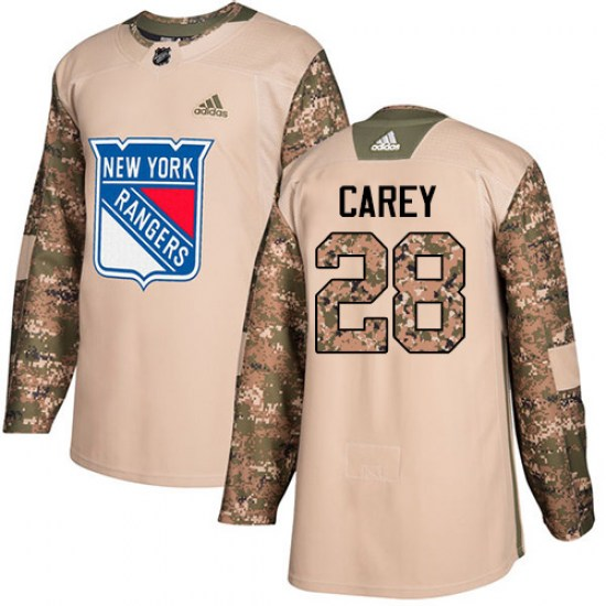 Adidas Paul Carey New York Rangers Youth Authentic Veterans Day Practice Jersey - Camo