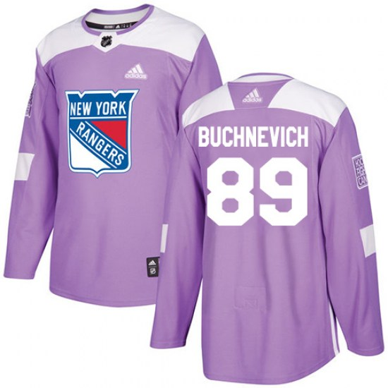 Adidas Pavel Buchnevich New York Rangers Youth Authentic Fights Cancer Practice Jersey - Purple