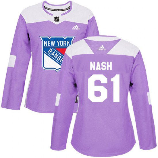 Adidas Rick Nash New York Rangers Women's Authentic Fights Cancer Practice Jersey - Purple
