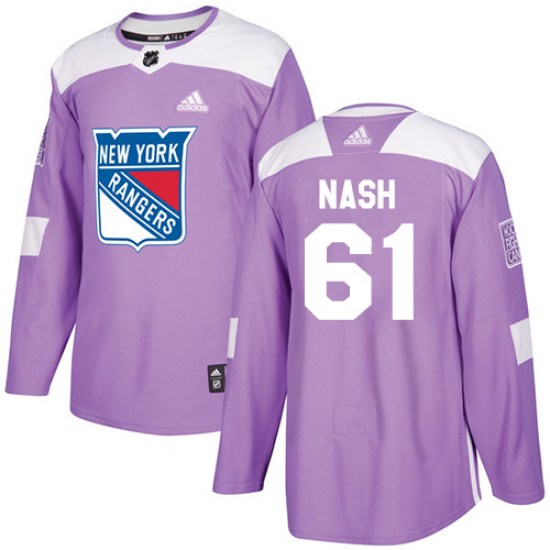 Adidas Rick Nash New York Rangers Youth Authentic Fights Cancer Practice Jersey - Purple