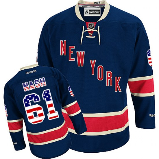 Reebok Rick Nash New York Rangers Authentic USA Flag Fashion Jersey - Navy Blue