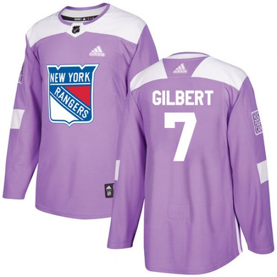 Adidas Rod Gilbert New York Rangers Youth Authentic Fights Cancer Practice Jersey - Purple