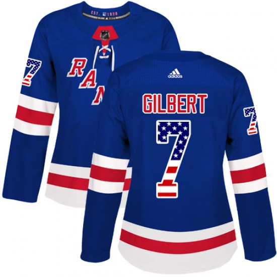 Adidas Rod Gilbert New York Rangers Women's Authentic USA Flag Fashion Jersey - Royal Blue
