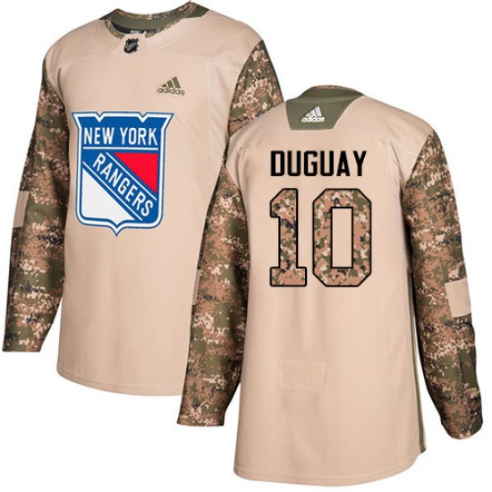 Adidas Ron Duguay New York Rangers Youth Authentic Veterans Day Practice Jersey - Camo