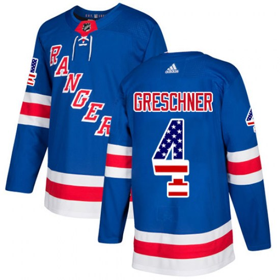 Adidas Ron Greschner New York Rangers Authentic USA Flag Fashion Jersey - Royal Blue