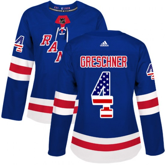 Adidas Ron Greschner New York Rangers Women's Authentic USA Flag Fashion Jersey - Royal Blue