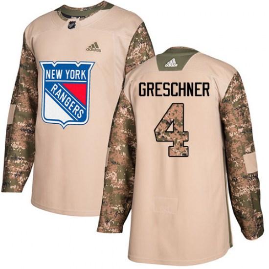 Adidas Ron Greschner New York Rangers Youth Authentic Veterans Day Practice Jersey - Camo