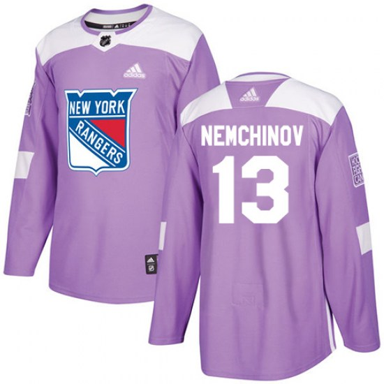 Adidas Sergei Nemchinov New York Rangers Authentic Fights Cancer Practice Jersey - Purple