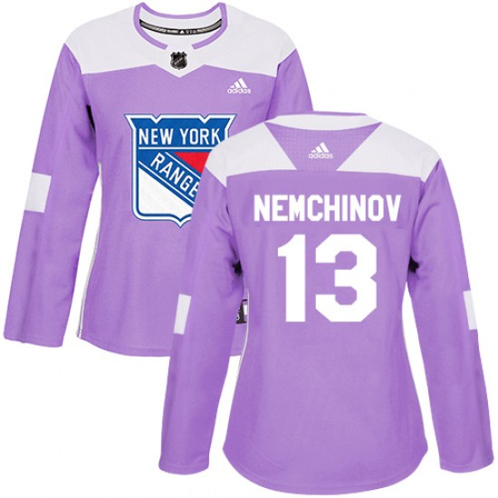 Adidas Sergei Nemchinov New York Rangers Women's Authentic Fights Cancer Practice Jersey - Purple