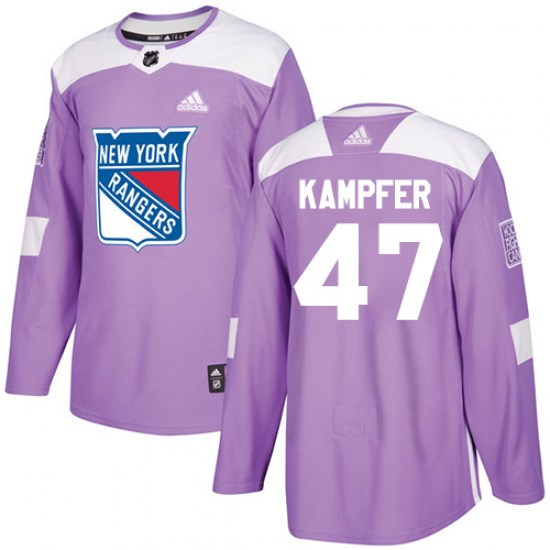 Adidas Steven Kampfer New York Rangers Youth Authentic Fights Cancer Practice Jersey - Purple