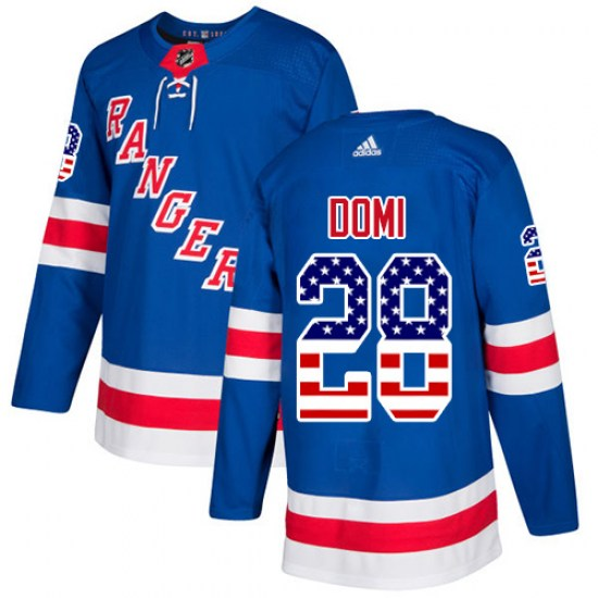 Adidas Tie Domi New York Rangers Youth Authentic USA Flag Fashion Jersey - Royal Blue