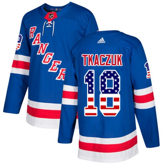 Adidas Walt Tkaczuk New York Rangers Youth Authentic USA Flag Fashion Jersey - Royal Blue