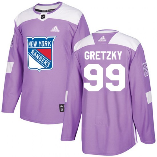 Adidas Wayne Gretzky New York Rangers Youth Authentic Fights Cancer Practice Jersey - Purple