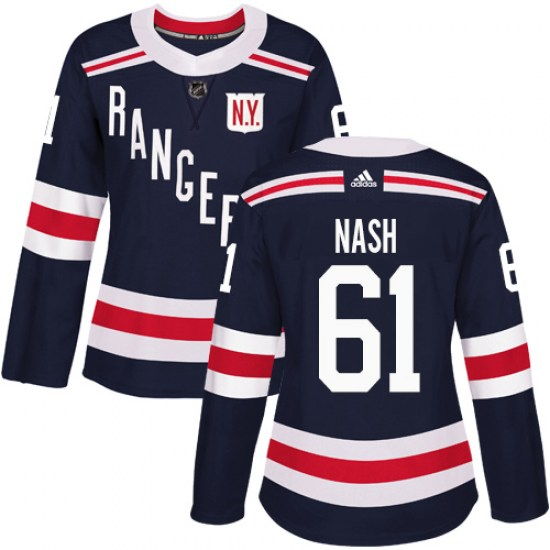 Adidas Rick Nash New York Rangers Women's Authentic 2018 Winter Classic Jersey - Navy Blue